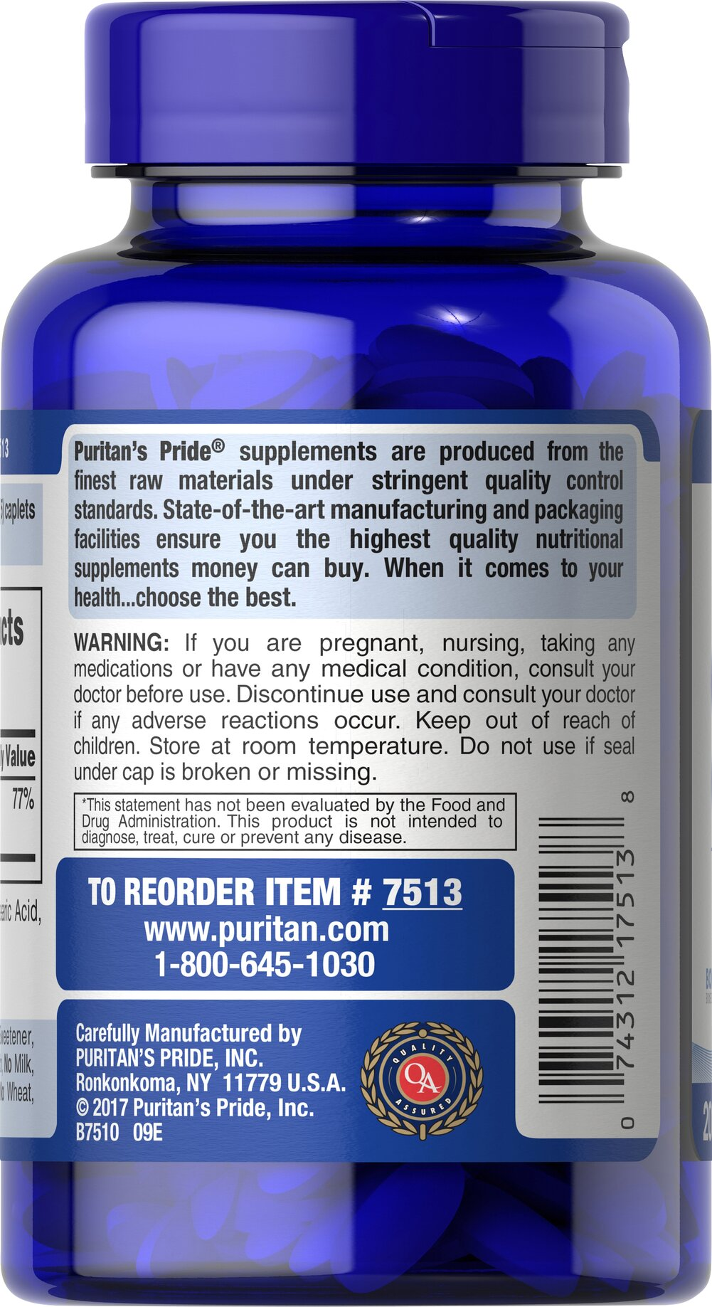 Calcium Citrate 200 mg Thumbnail Alternate Bottle View