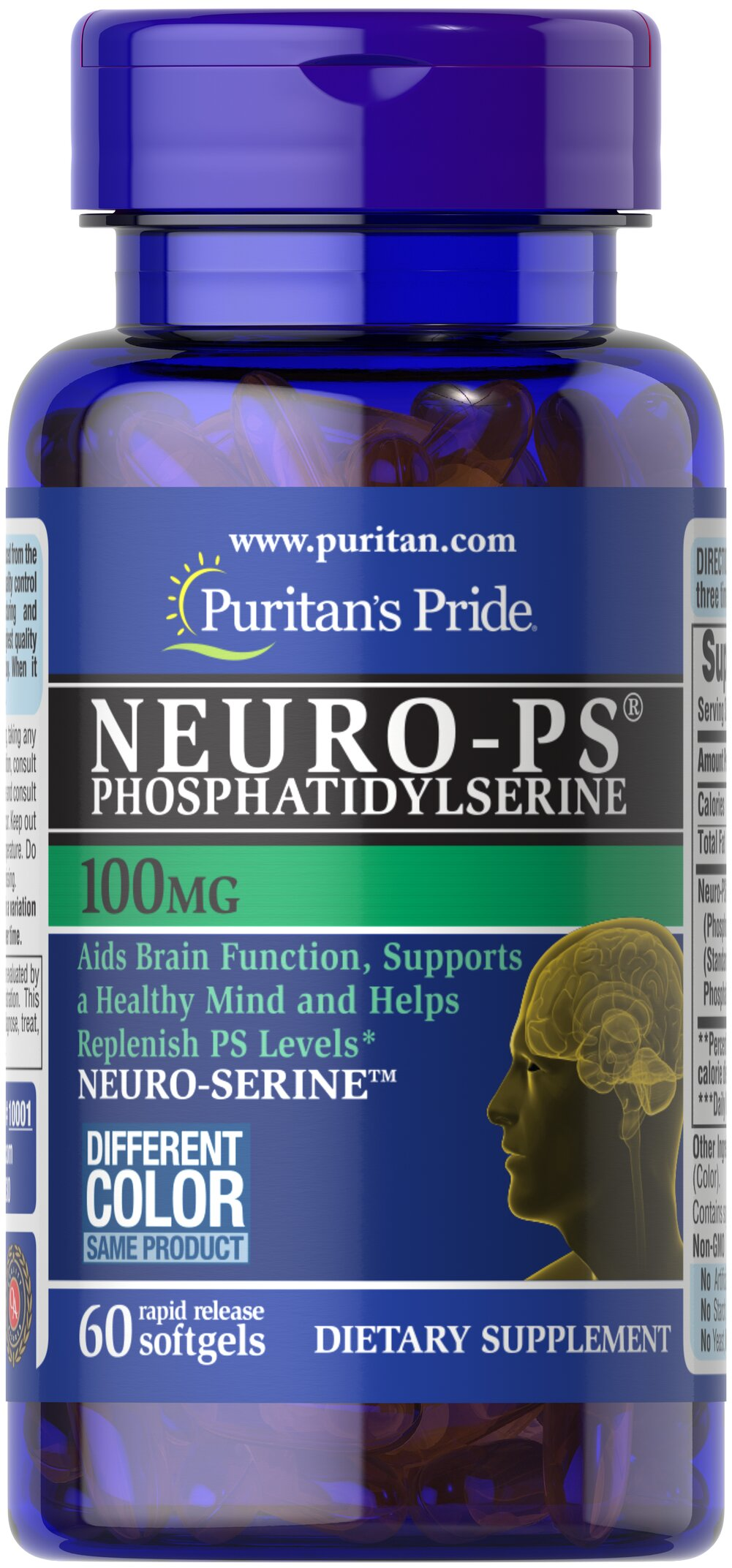 Neuro-PS (Phosphatidylserine) 100 mg Thumbnail Alternate Bottle View