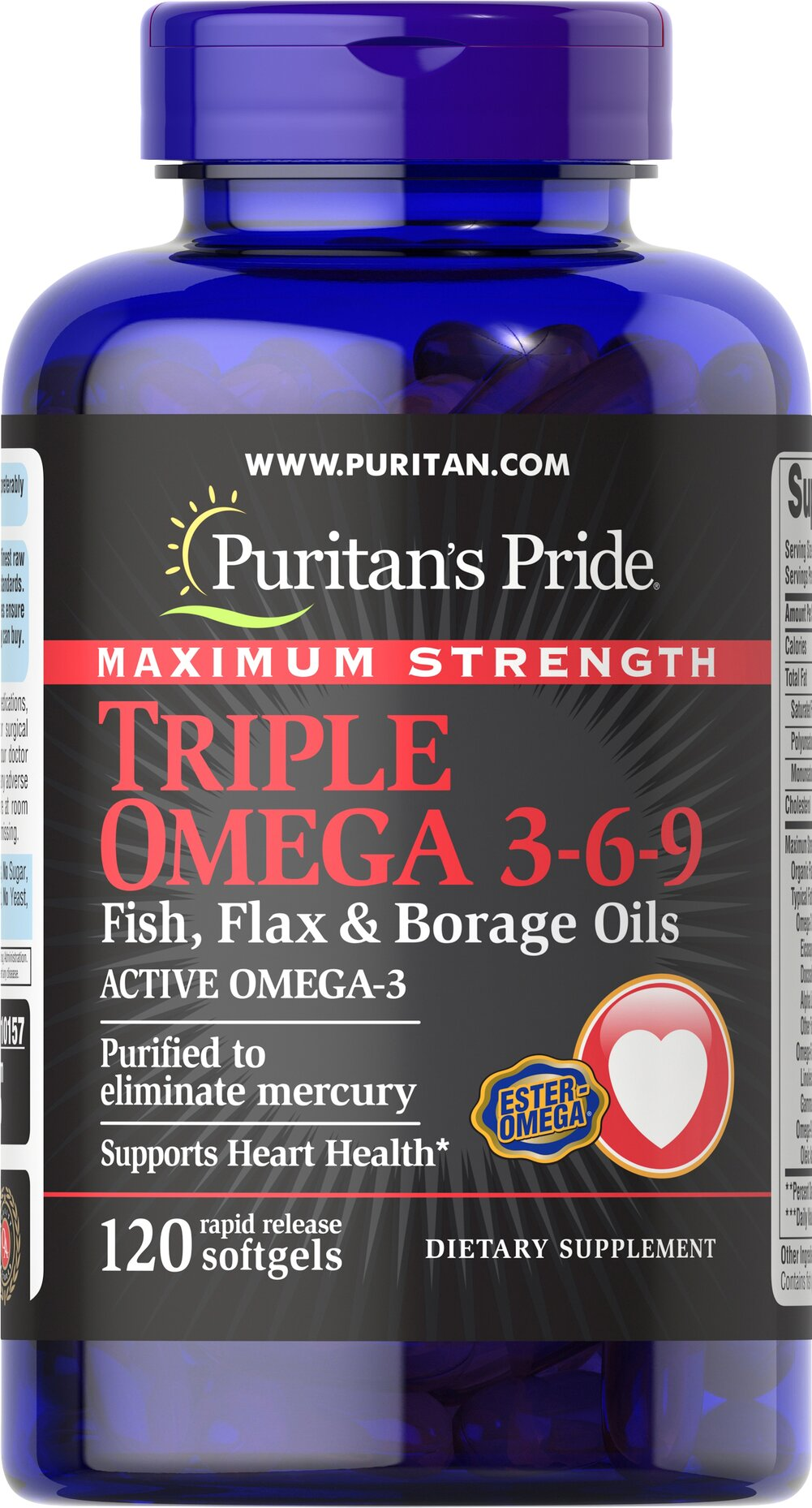 Maximum Strength Triple Omega 3-6-9 Fish, Flax & Borage Oils Thumbnail Alternate Bottle View