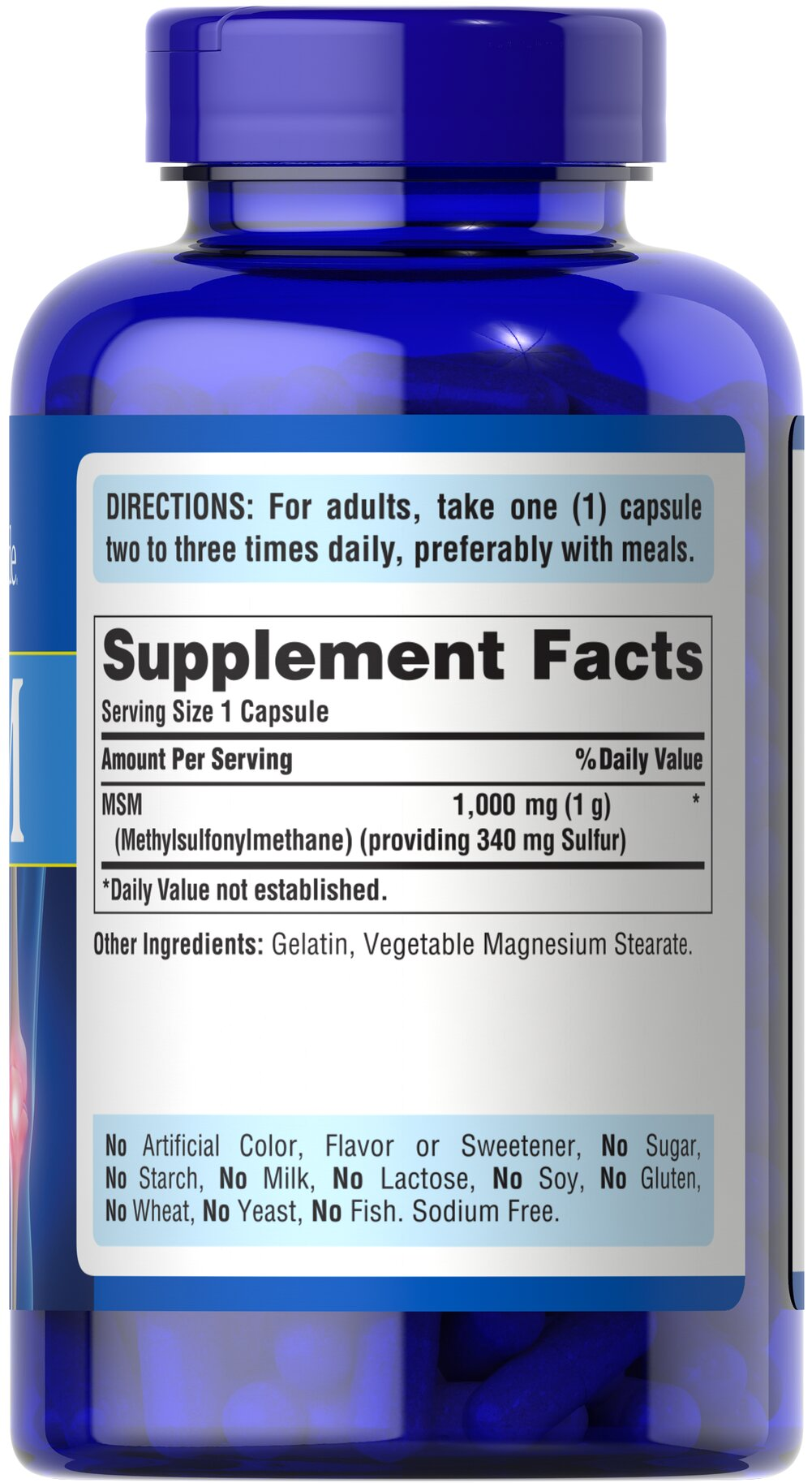MSM 1000 mg Thumbnail Alternate Bottle View