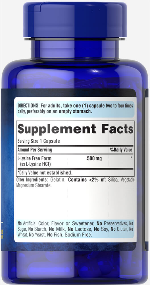 L-Lysine 500 mg Thumbnail Alternate Bottle View
