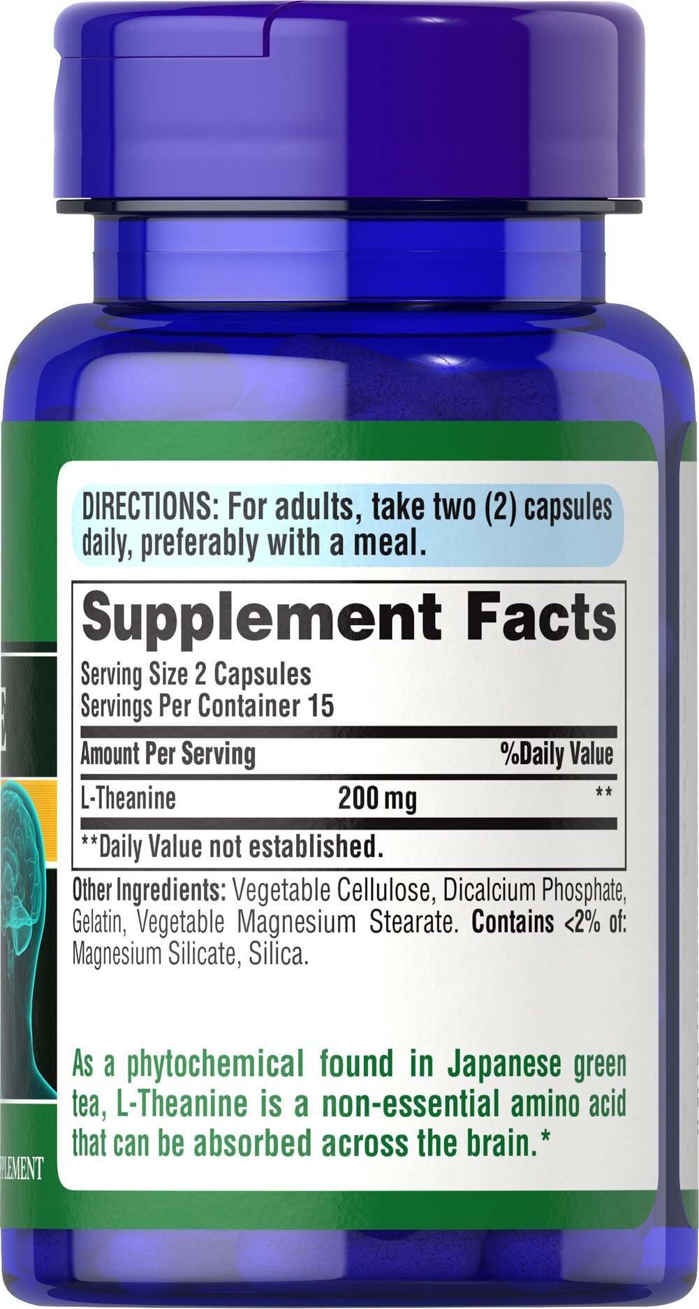 L-Theanine 200 mg per serving Thumbnail Alternate Bottle View