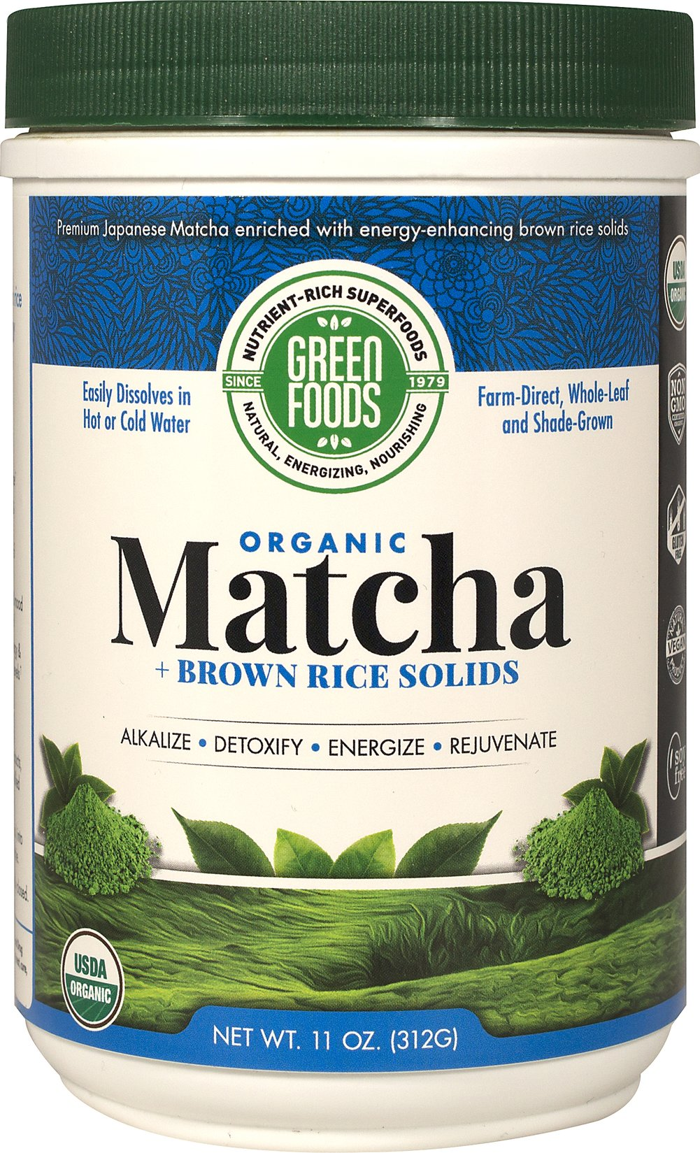 Organic Matcha + Brown Rice Solids Thumbnail Alternate Bottle View