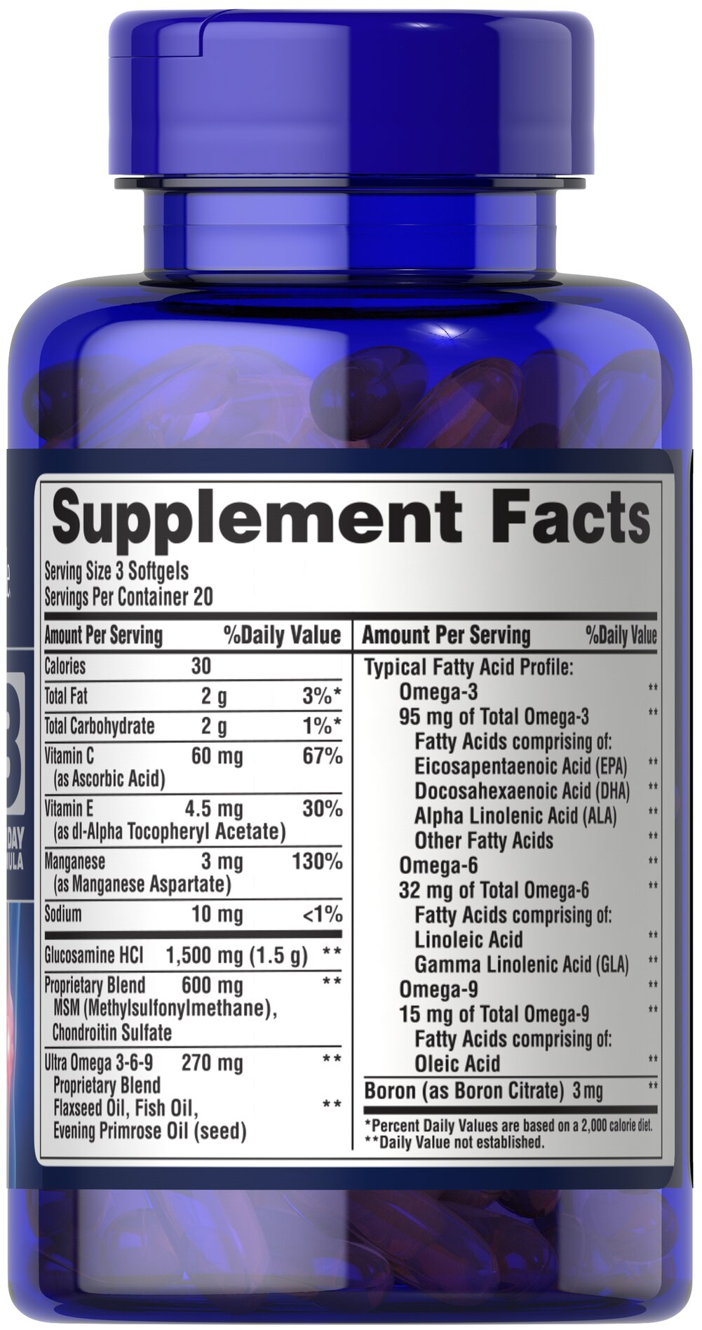 Glucosamine, Chondroitin & MSM with Omega 3, 6, 9 Thumbnail Alternate Bottle View