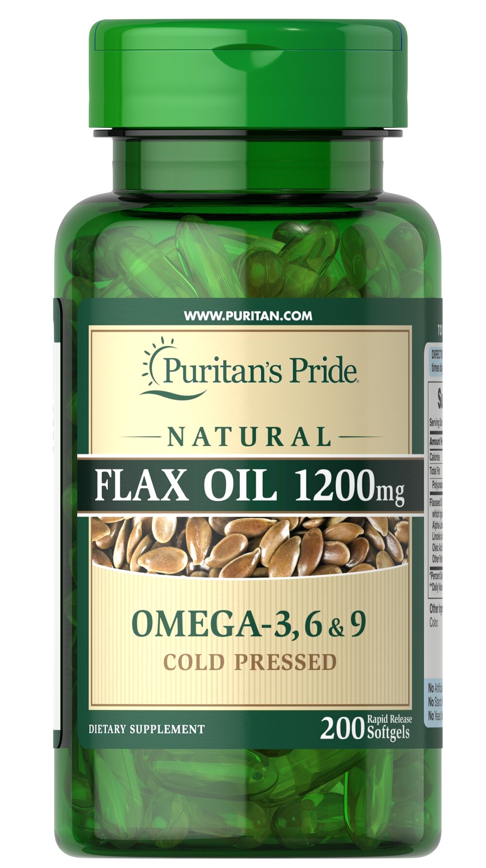 Natural Flax Oil 1200 mg Thumbnail Alternate Bottle View