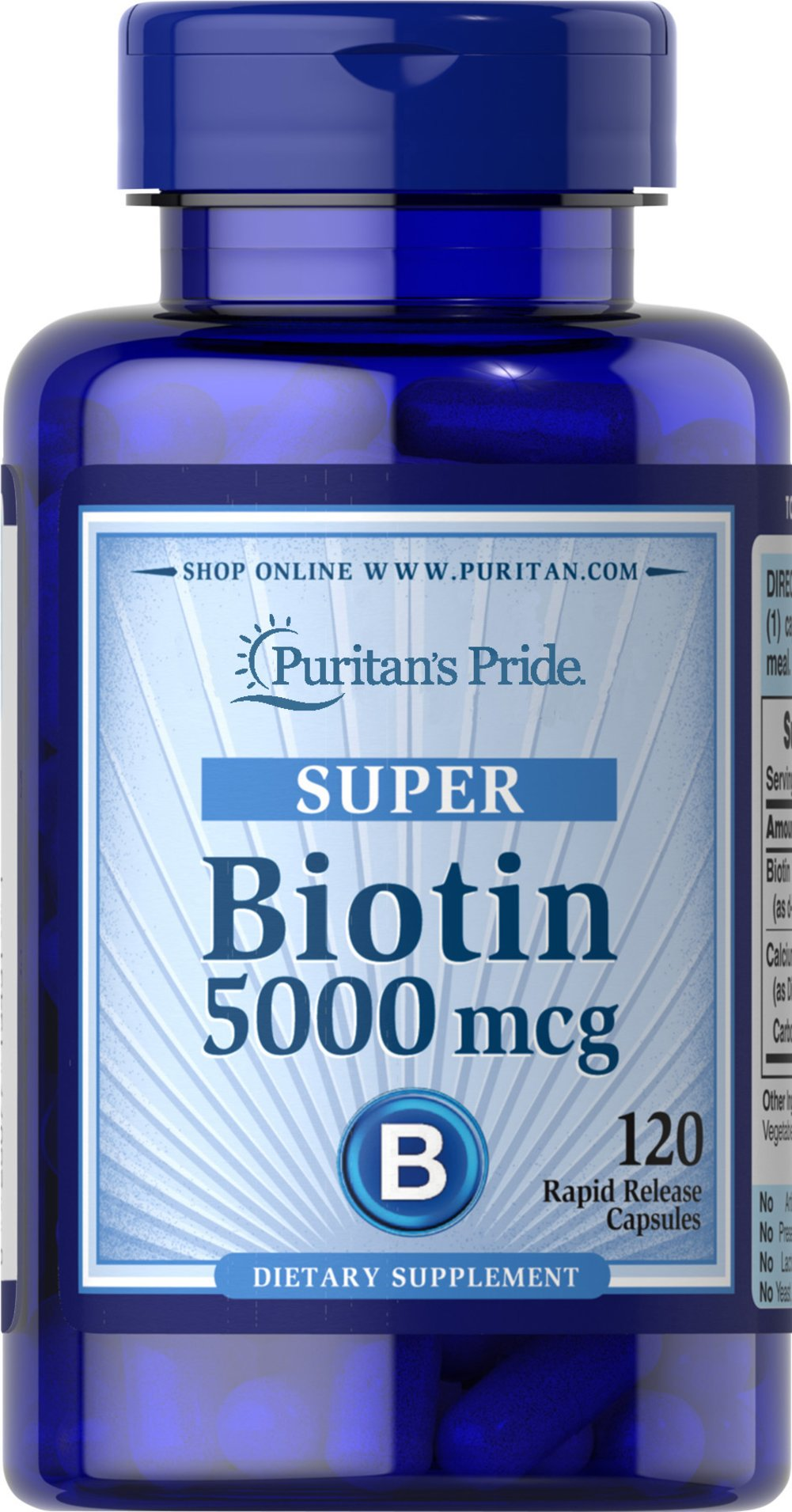 Biotin 5000 mcg Thumbnail Alternate Bottle View