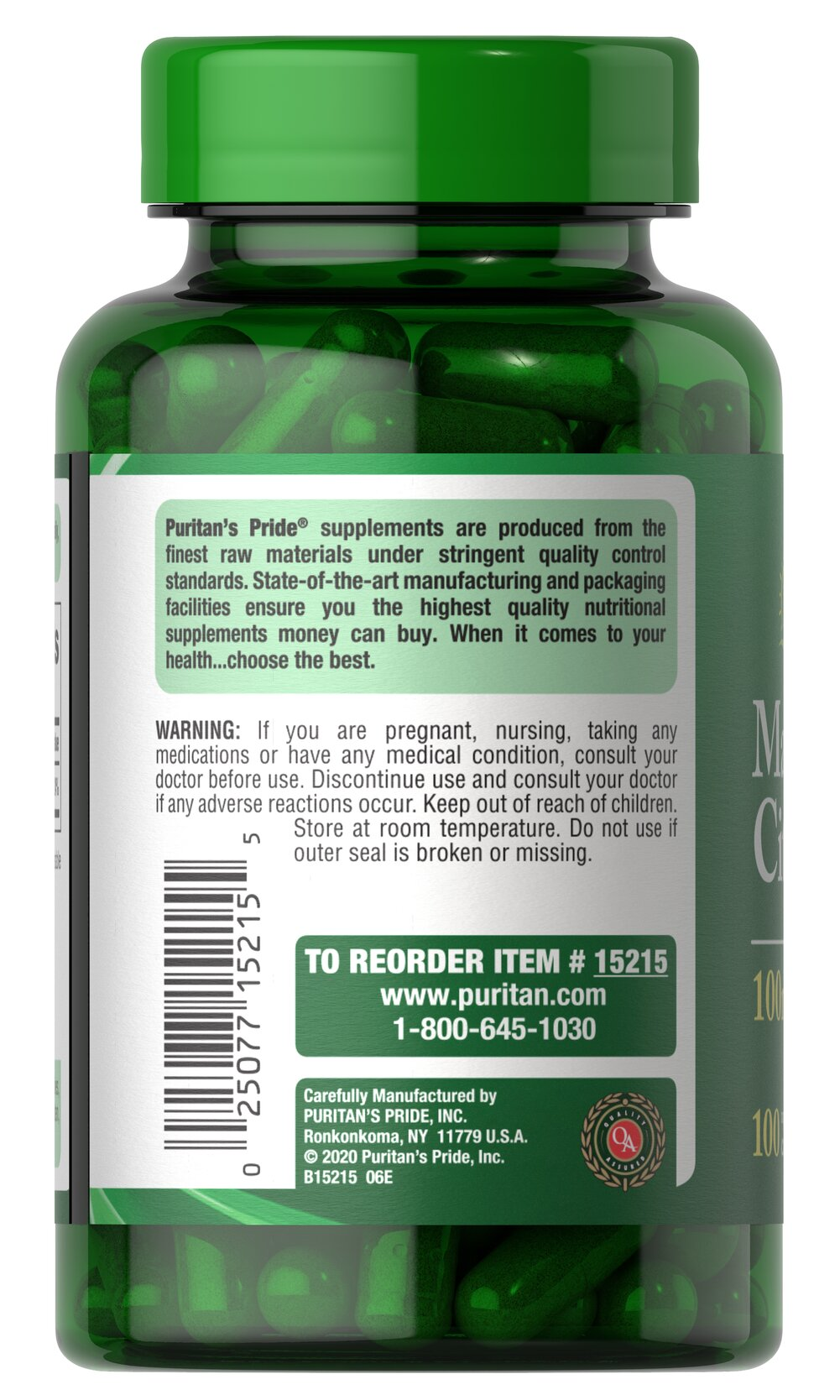 Magnesium Citrate 100 mg Thumbnail Alternate Bottle View