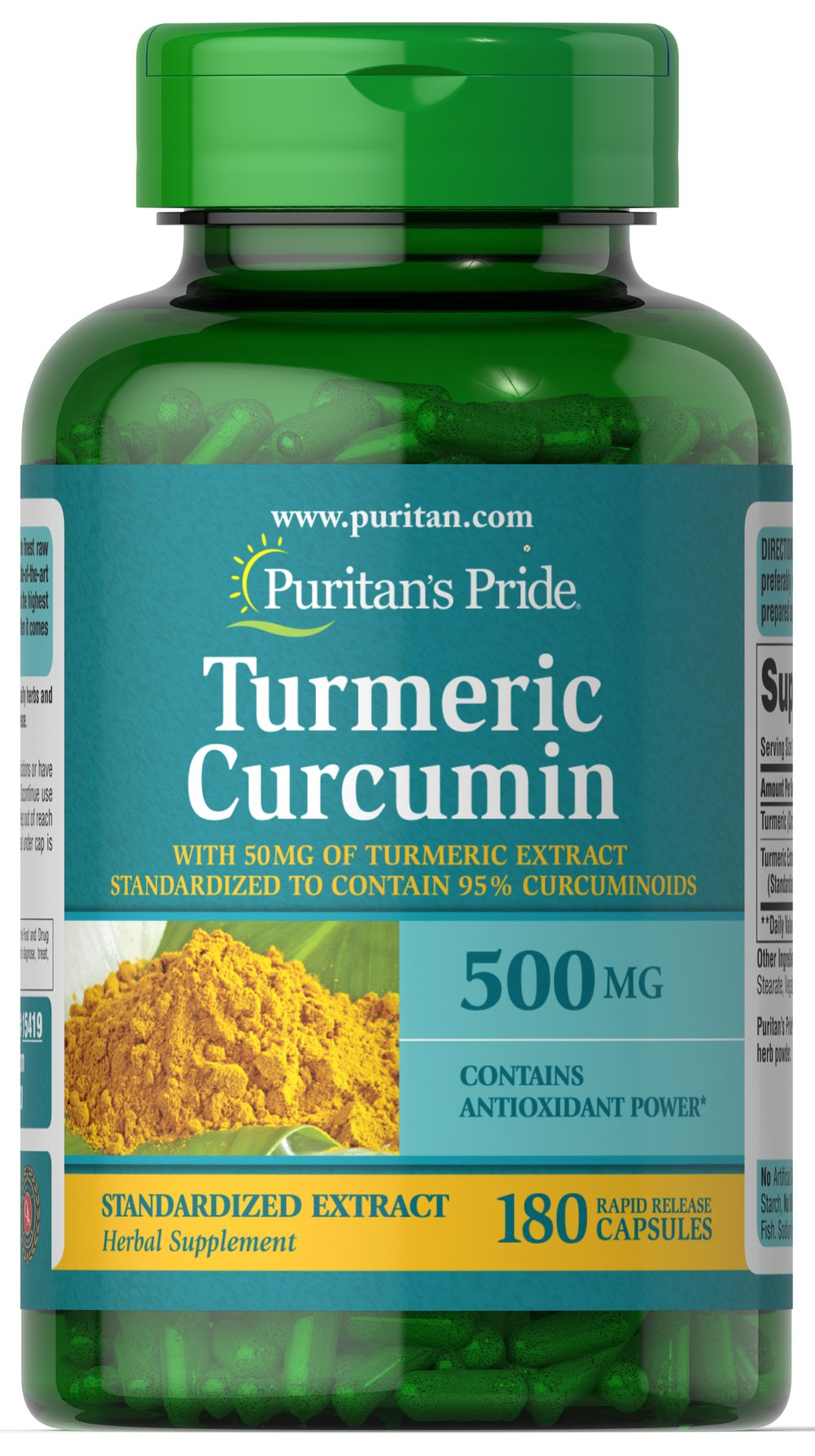 Turmeric Curcumin 500 mg Thumbnail Alternate Bottle View