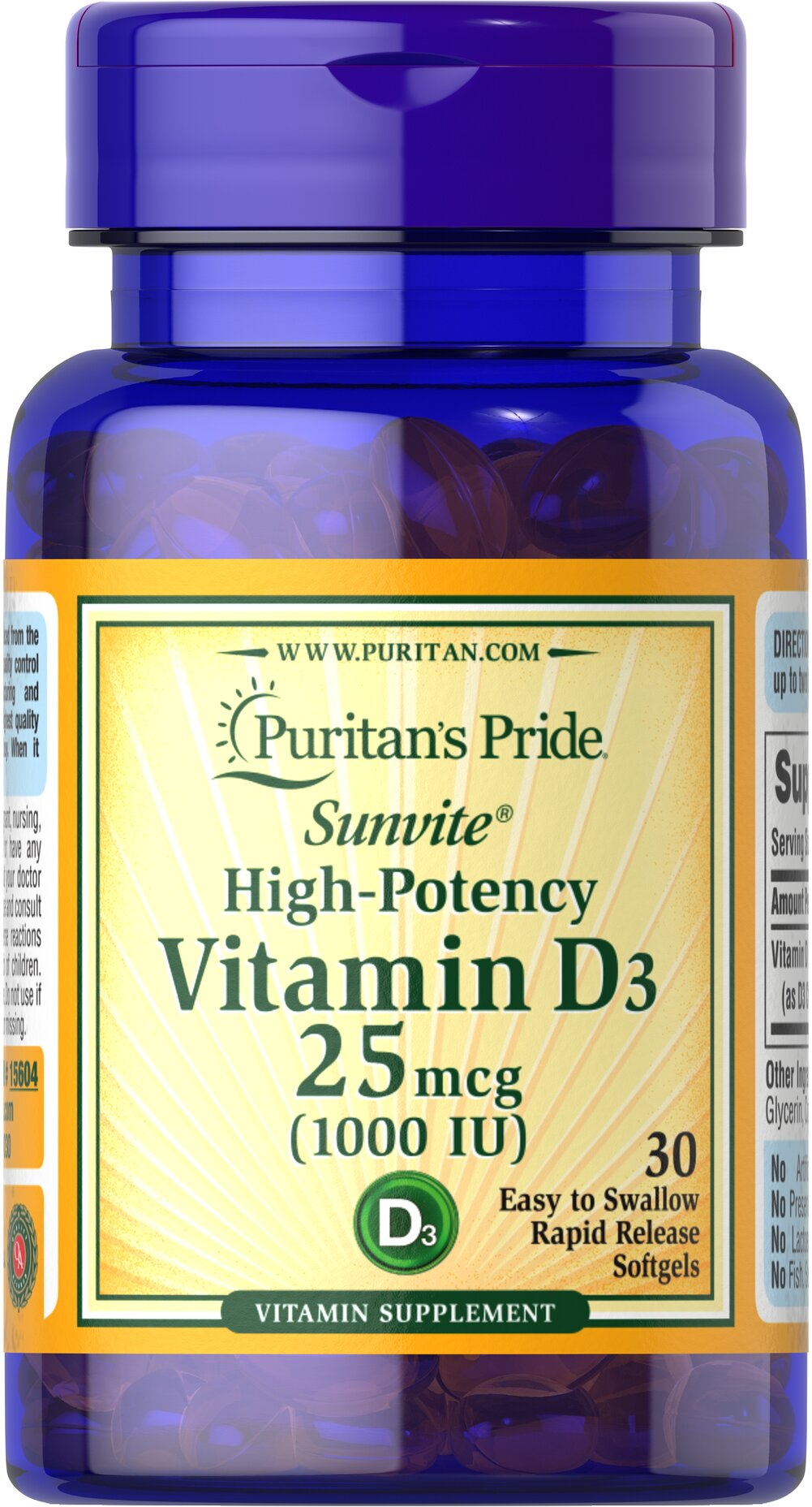 Vitamin D3 25 mcg (1000 IU) Trial Size Thumbnail Alternate Bottle View