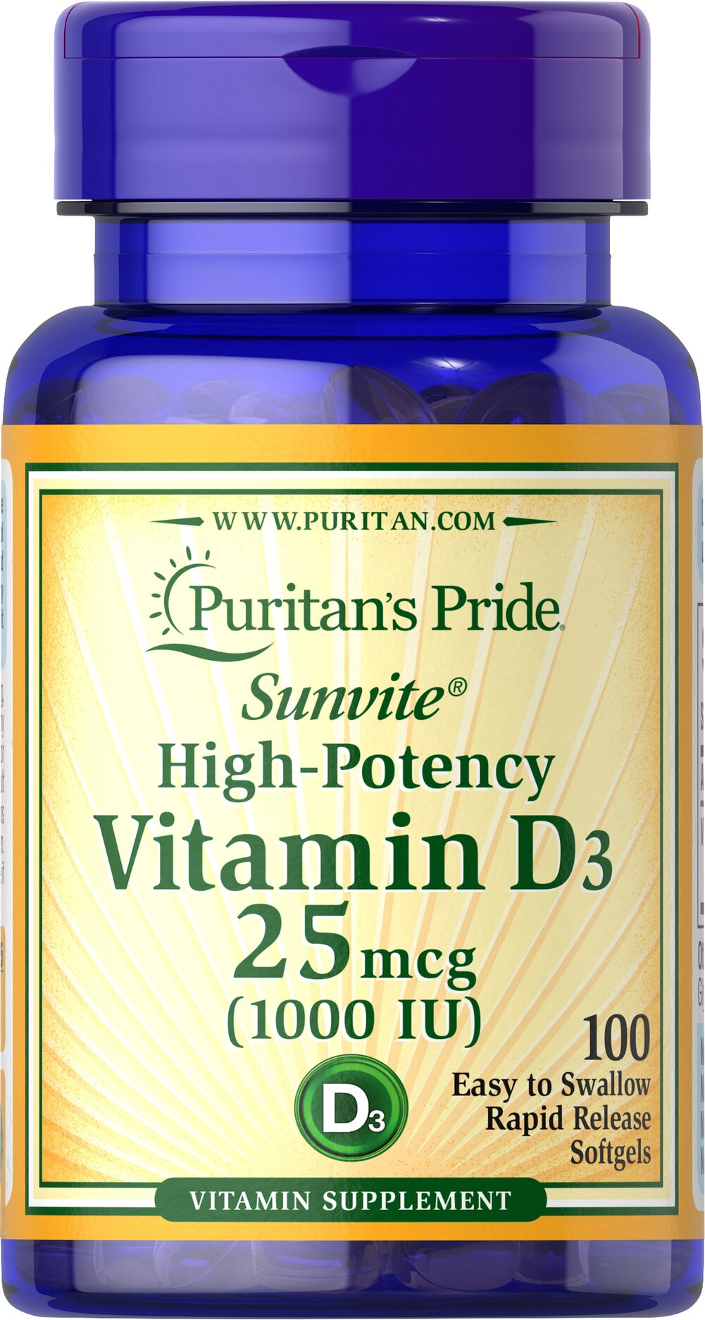 Vitamin D3 25 mcg (1000 IU) Thumbnail Alternate Bottle View