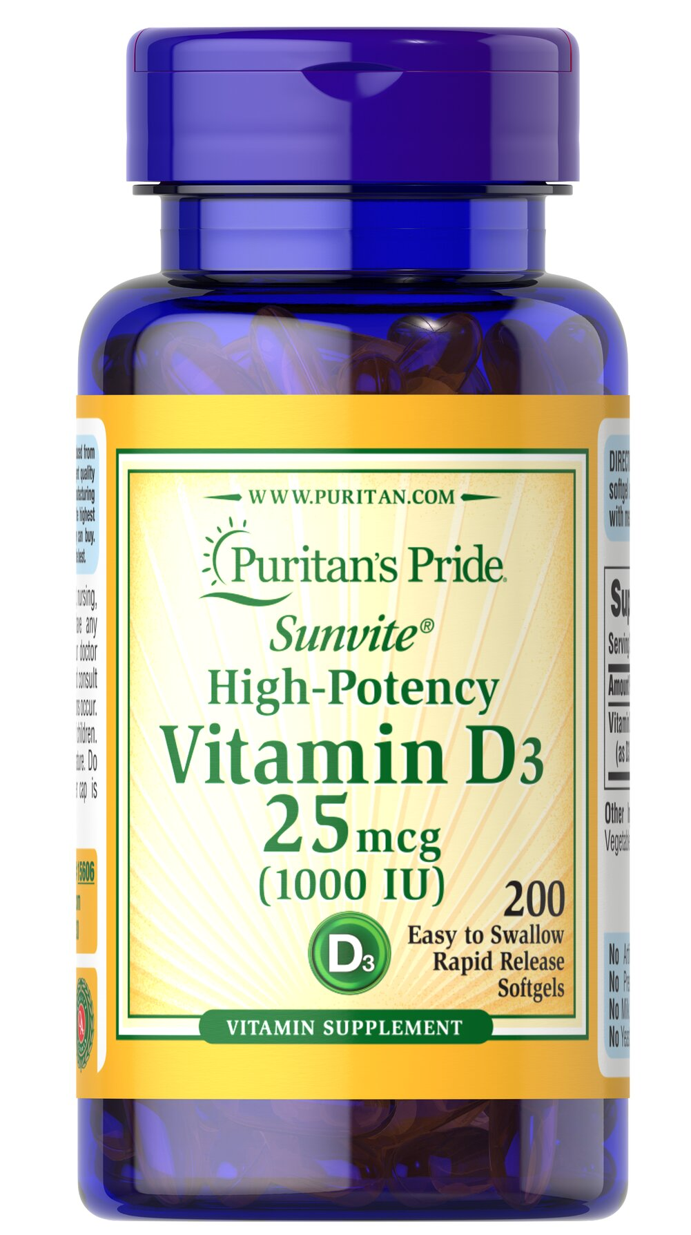 Vitamin D3 25mcg (1000 IU) Thumbnail Alternate Bottle View