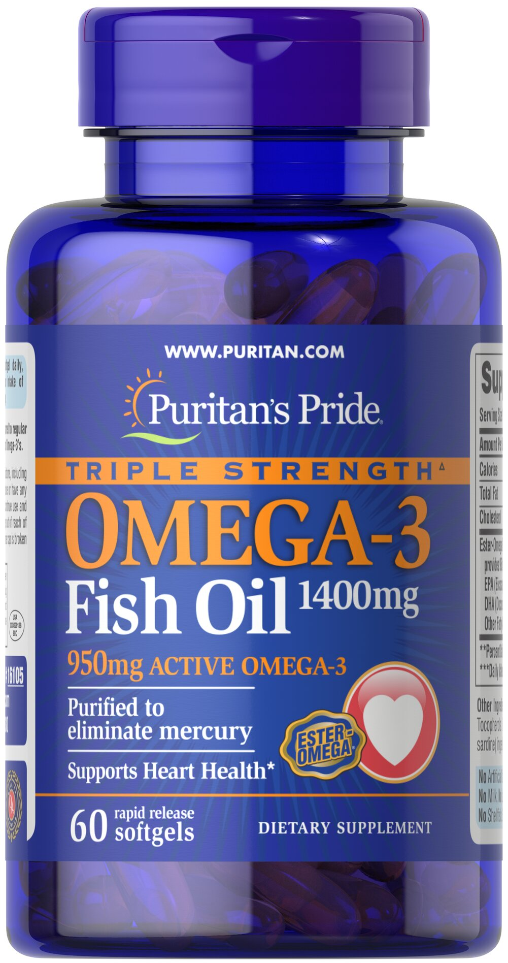 Triple Strength Omega-3 Fish Oil 1360 mg (950 mg Active Omega-3) Thumbnail Alternate Bottle View
