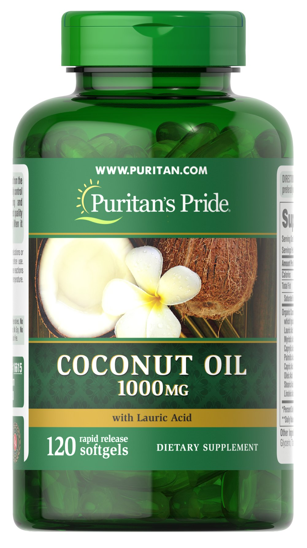 Coconut Oil 1000 mg Thumbnail Alternate Bottle View