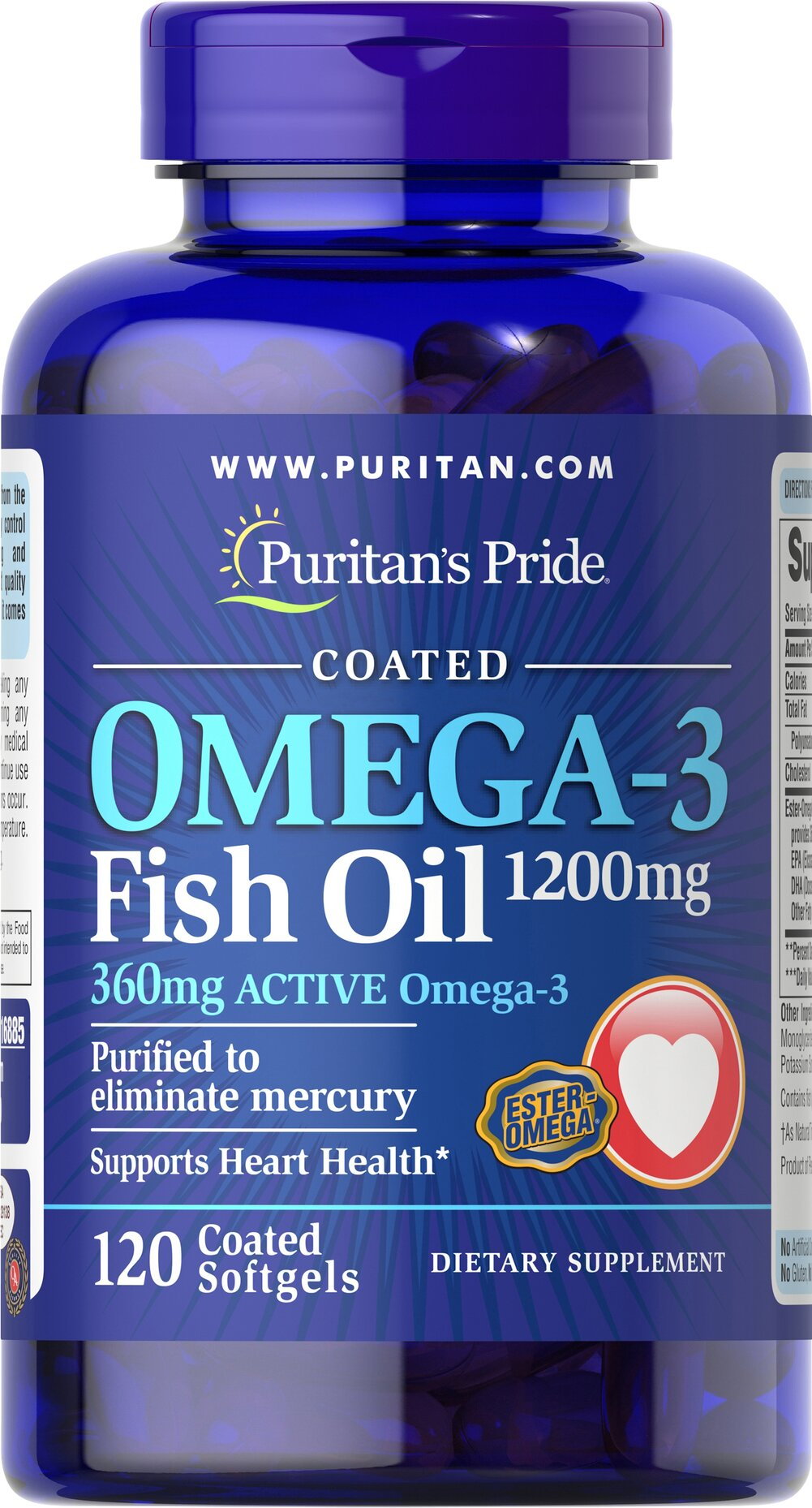 Omega-3 Fish Oil Coated 1200 mg (360 mg Active Omega-3) Thumbnail Alternate Bottle View
