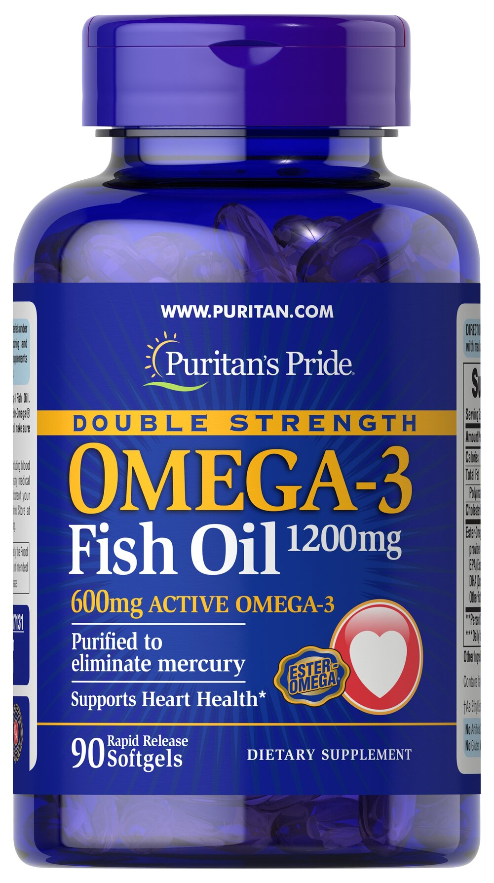 Double Strength Omega-3 Fish Oil 1200 mg/600 mg Omega-3 Thumbnail Alternate Bottle View