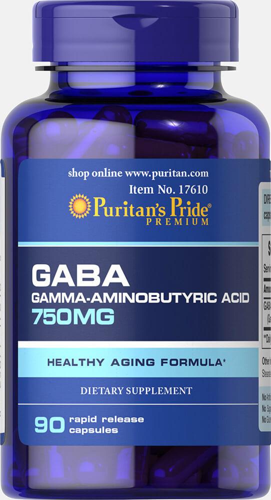 Puritan's Pride GABA (Gamma Aminobutyric Acid) 750 mg-90 Capsules