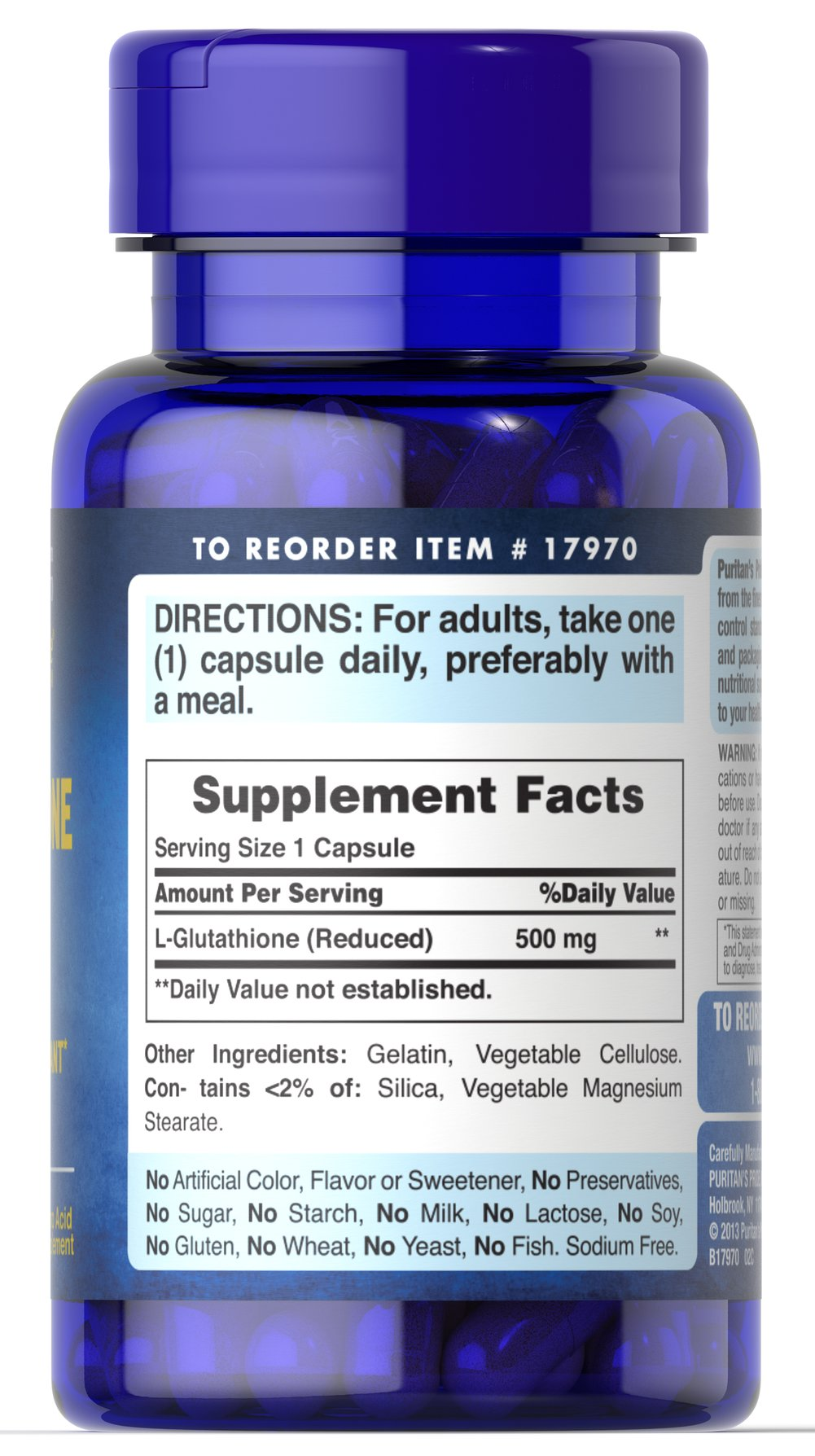 L-Glutathione 500 mg Thumbnail Alternate Bottle View
