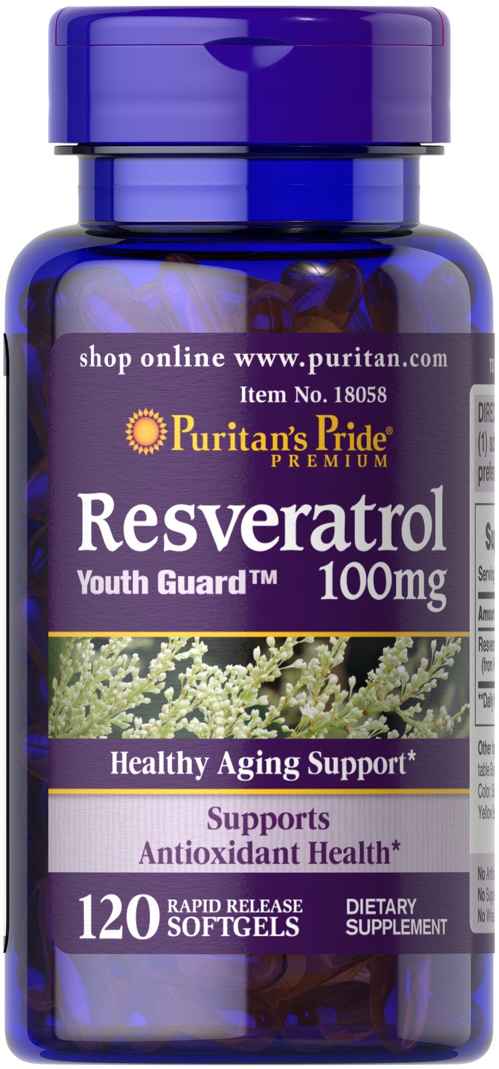 Resveratrol 100 mg Thumbnail Alternate Bottle View
