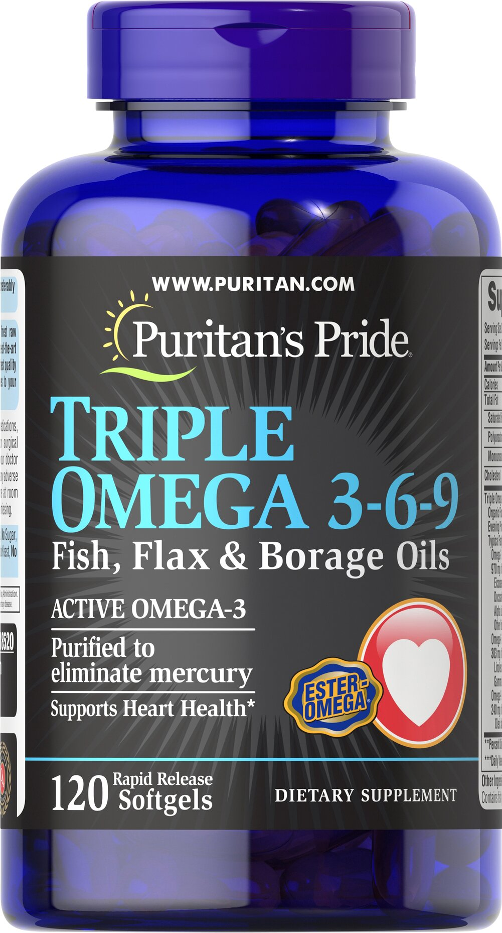 Triple Omega 3-6-9 Fish, Flax & Borage Oils Thumbnail Alternate Bottle View