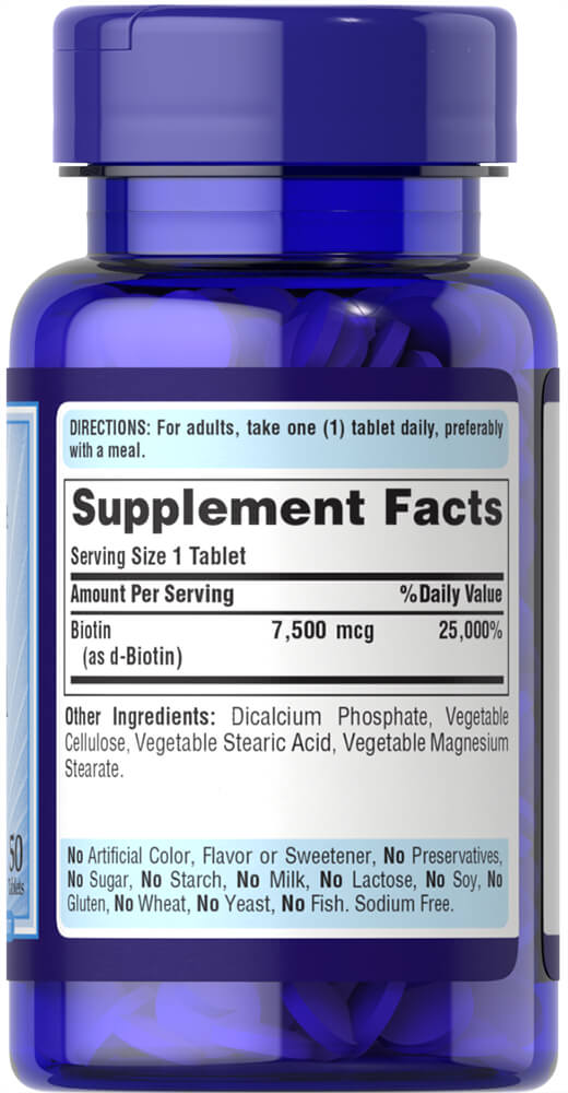 Biotin 7500 mcg Thumbnail Alternate Bottle View