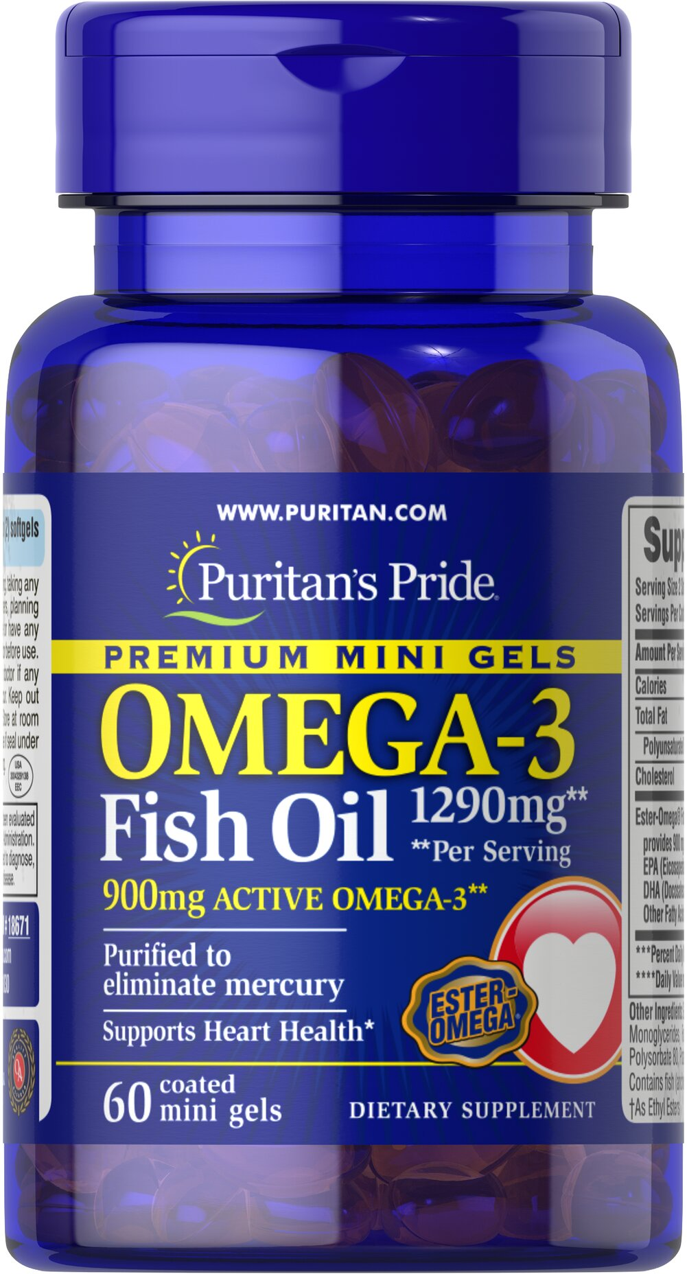 Omega-3 Fish Oil 1290 mg Mini Gels (900 mg Active Omega-3) Per Serving Thumbnail Alternate Bottle View