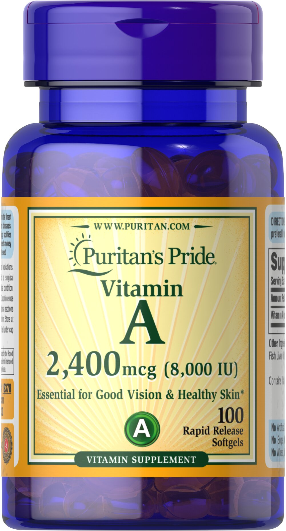 Vitamin A 8,000 IU (2,400 mcg) Thumbnail Alternate Bottle View