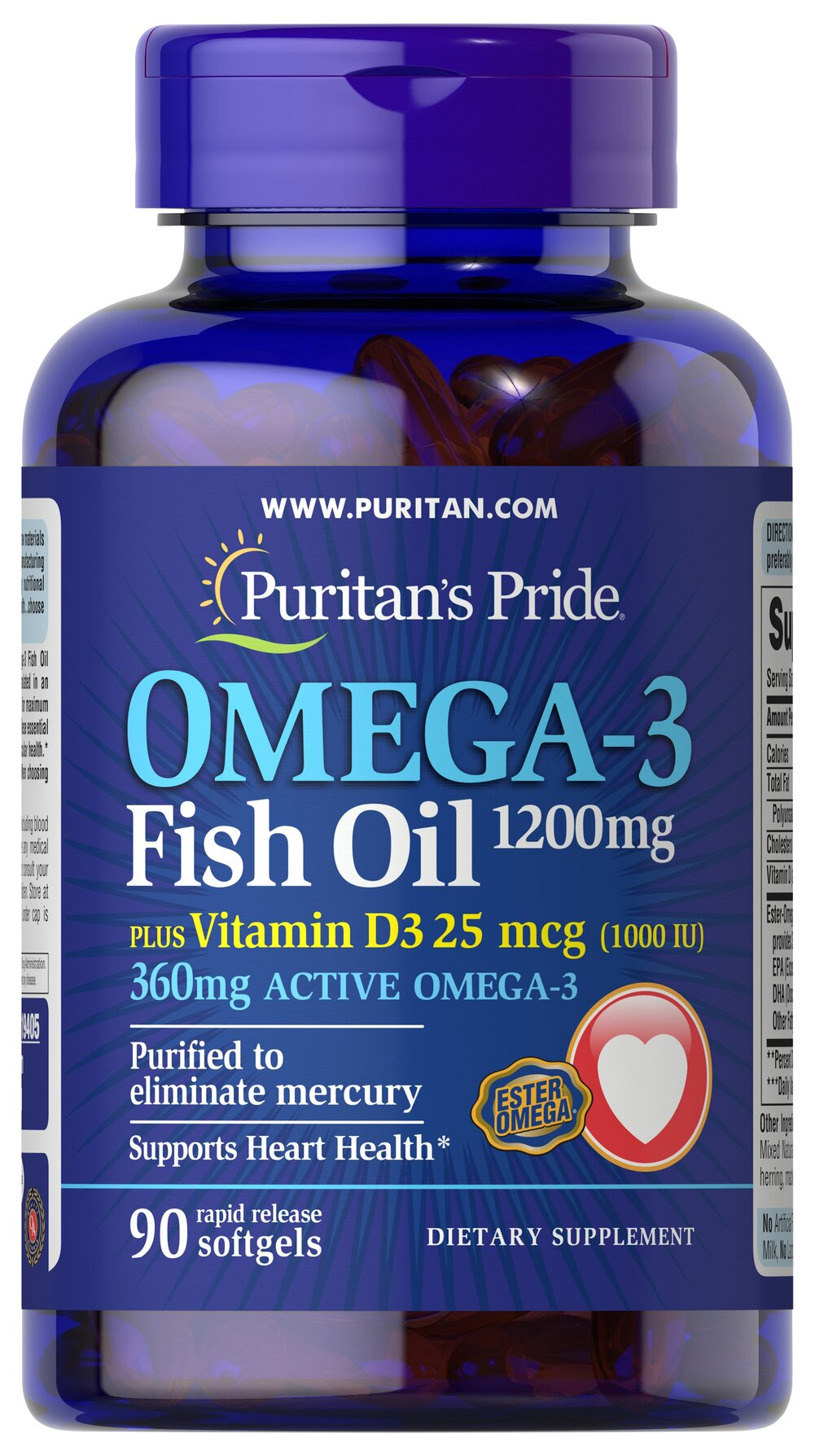 Omega 3 Fish Oil 1200 mg  plus Vitamin D3 1000 IU Thumbnail Alternate Bottle View