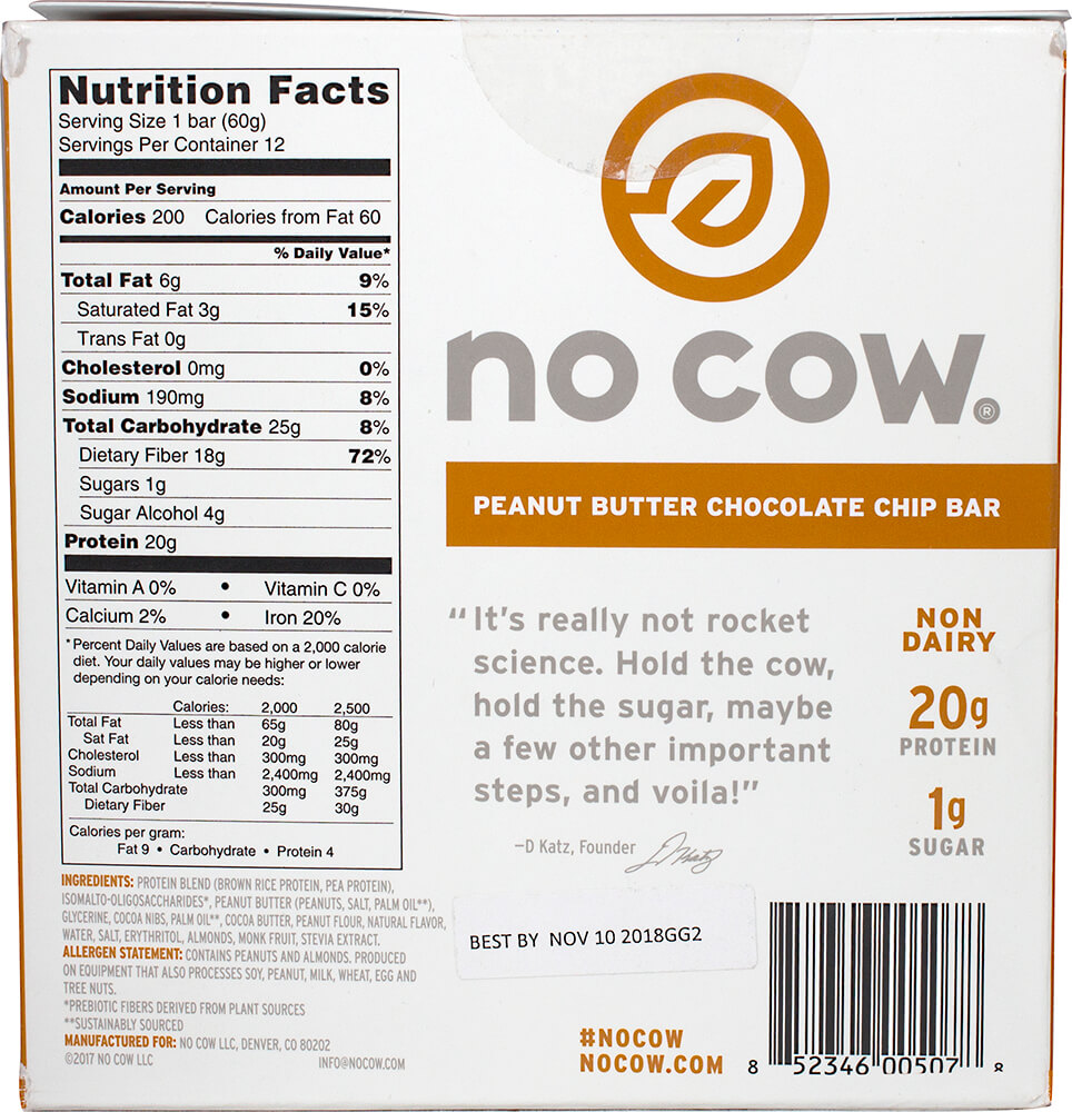 No Cow Bar Peanut Butter Chocolate Chip