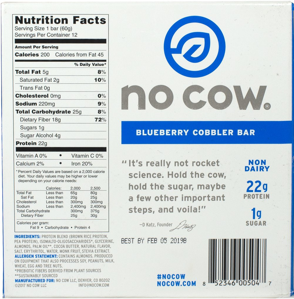 No Cow Bar Blueberry Cobbler Thumbnail Alternate Bottle View