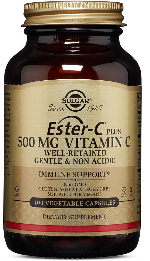 Solgar Solgar Ester-C Plus 500 mg Vitamin C Vegetable Capsules (Ester-C Ascorbate Complex)-100 Vegi Caps 020060