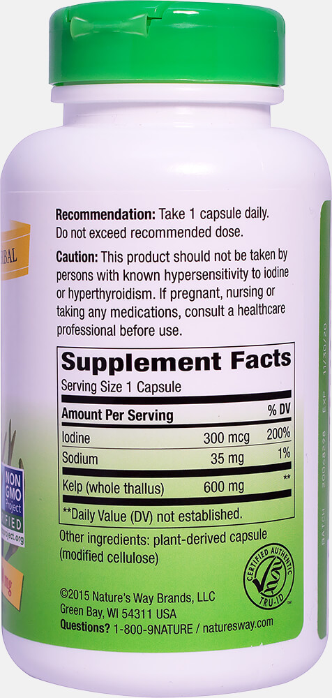 Kelp 600 mg Thumbnail Alternate Bottle View