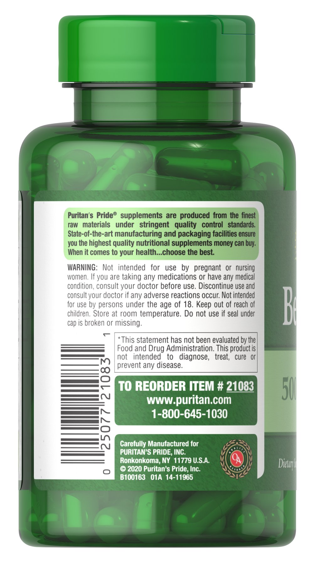 Berberine 500 mg Thumbnail Alternate Bottle View