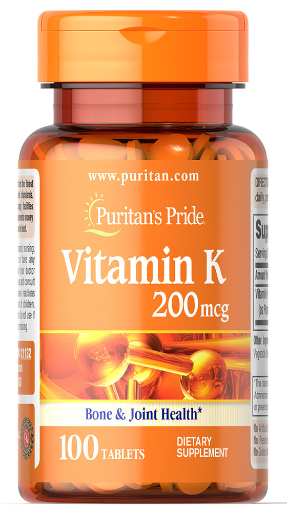Puritan's Pride Vitamin K 200 mcg-100 Tablets