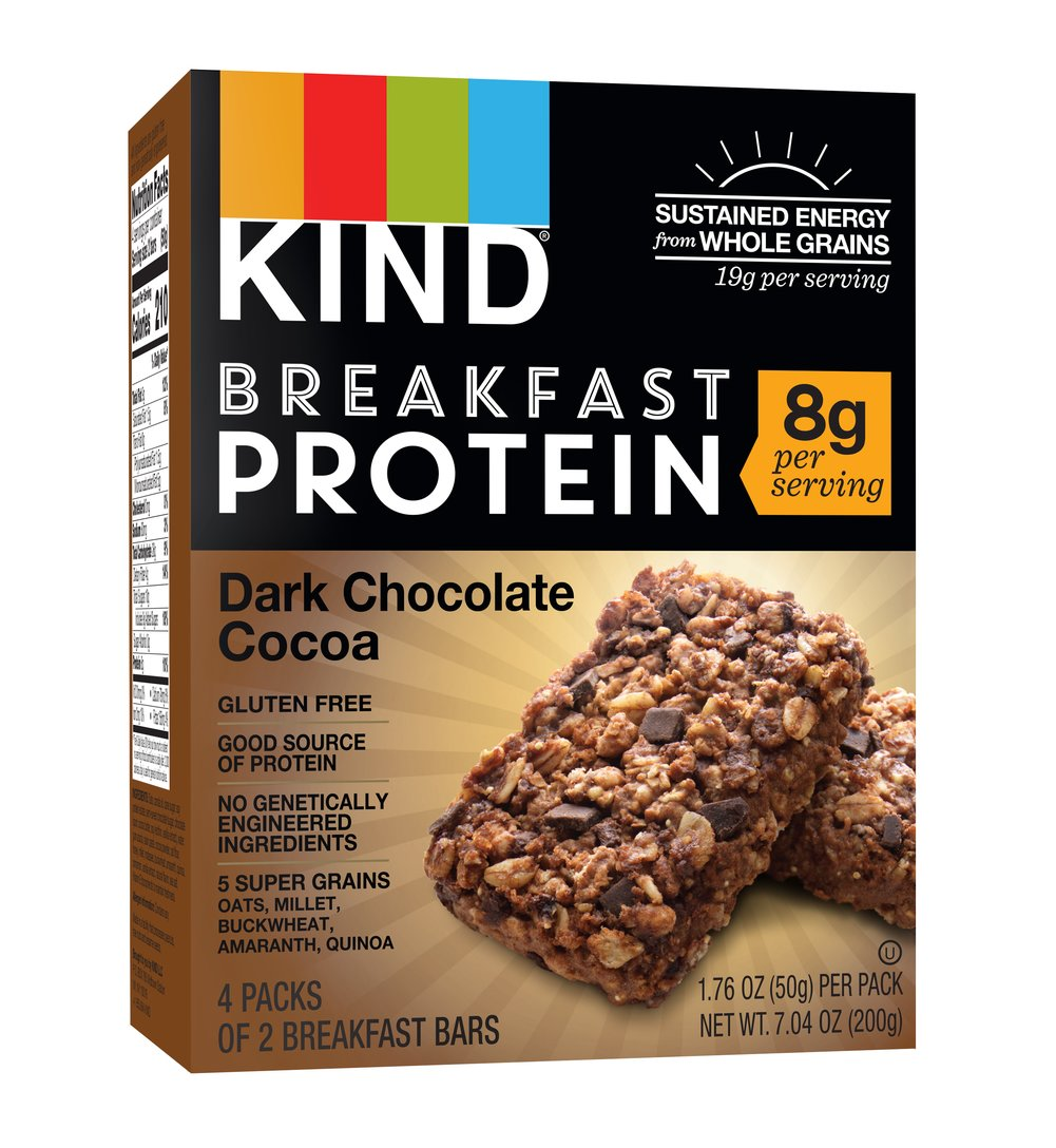 KIND Breakfast Protein Bars, Dark Chocolate Cocoa, 8g Protein