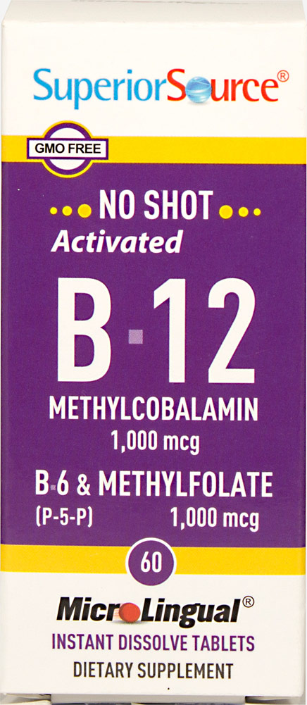 Vitamin B-12 Methylcobalamin 1,000mcg with B-6 & Methylfolate Instant Dissolve Tablets Thumbnail Alternate Bottle View