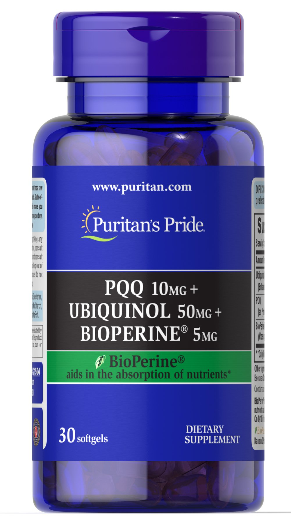 PQQ 10mg + Ubiquinol 50mg + Bioperine 5mg Thumbnail Alternate Bottle View