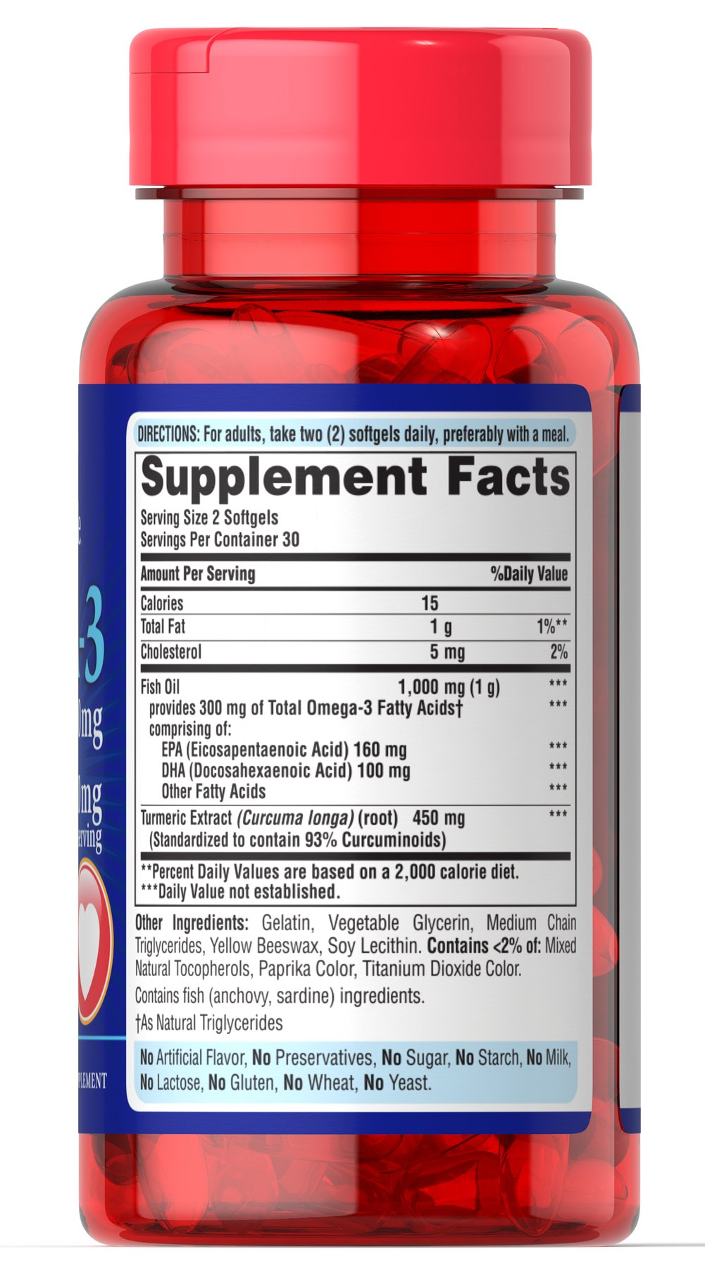 Omega 3 1000mg & Turmeric Curcumin 450mg Thumbnail Alternate Bottle View