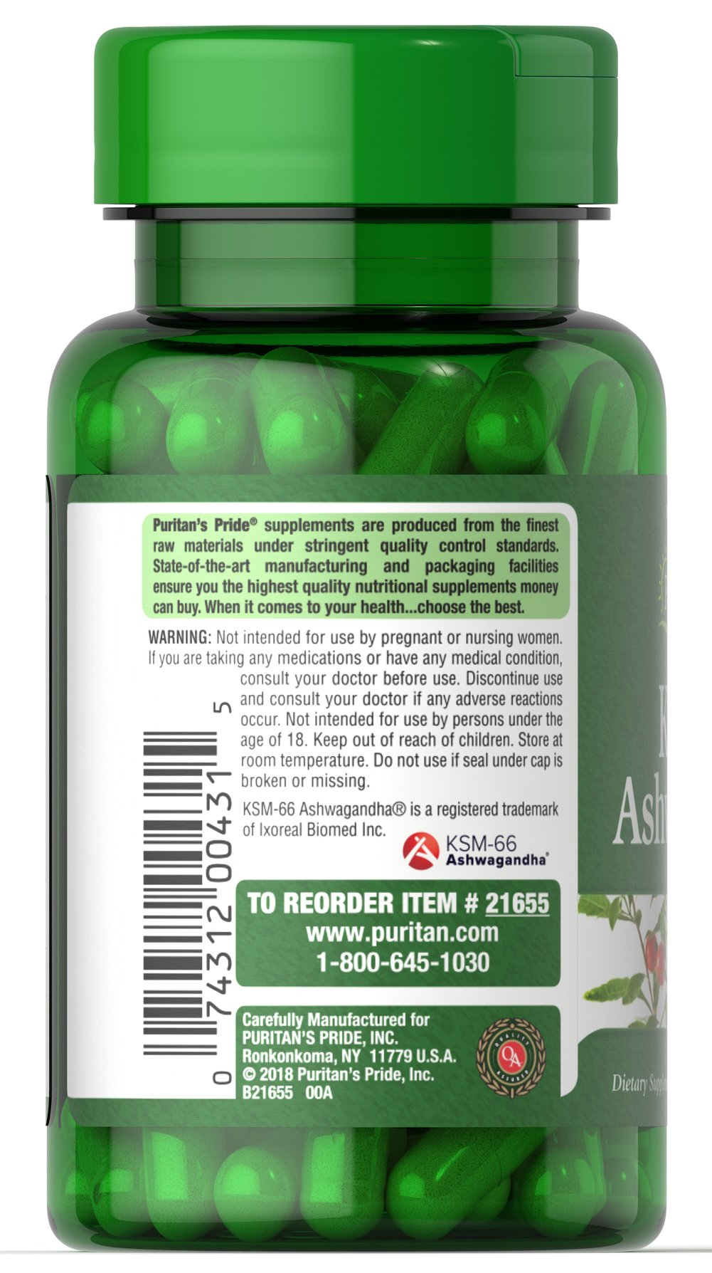 Ashwagandha KSM-66® 450mg Thumbnail Alternate Bottle View