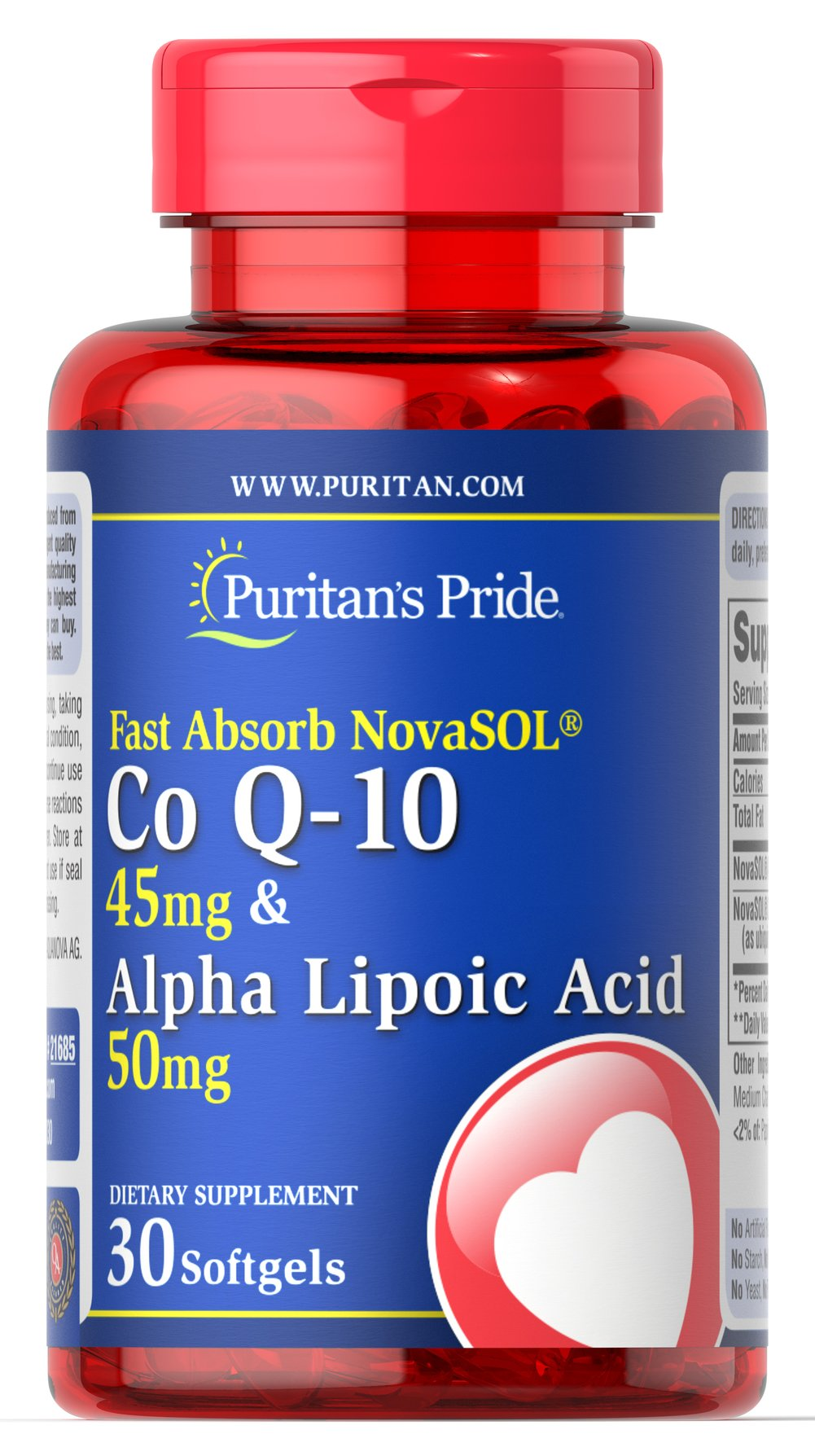 Fast Absorb NovaSOL® Co Q-10 45 mg & Alpha Lipoic Acid 50 mg Thumbnail Alternate Bottle View