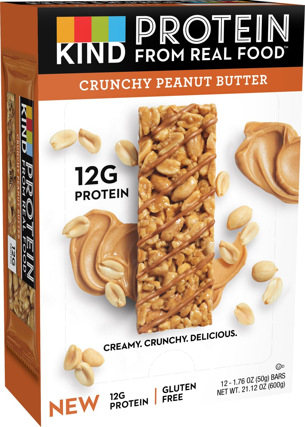 KIND Protein Bars, Crunchy Peanut Butter, 12g Protein Thumbnail Alternate Bottle View