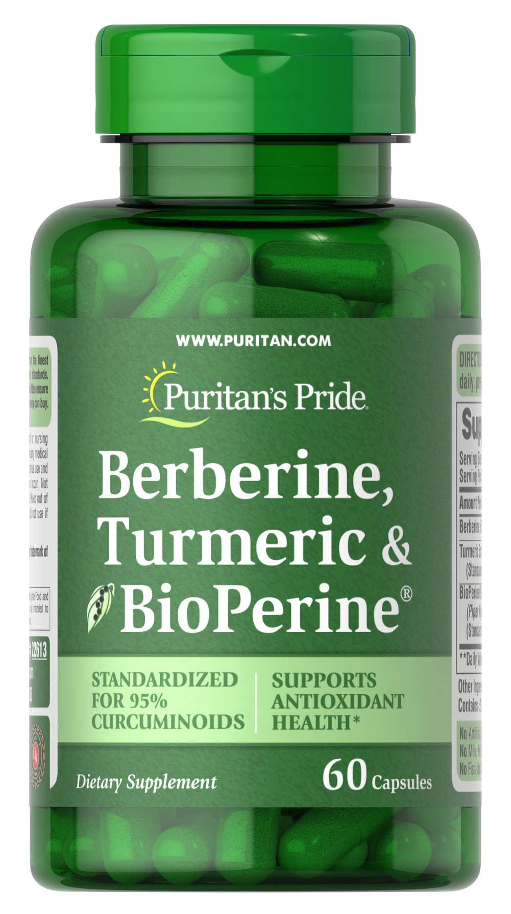 Berberine, Turmeric & BioPerine® Black Pepper Thumbnail Alternate Bottle View