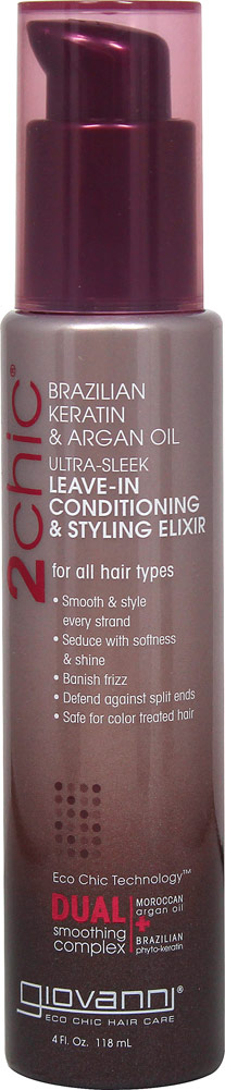 2chic™ Ultra-Sleek Leave-In Conditioner & Styling Elixir with Brazilian Keratin & Argan Oil