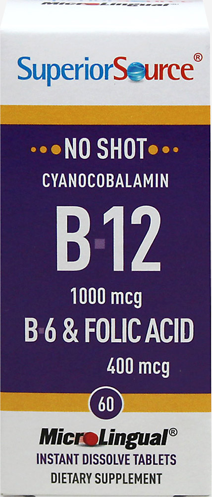 Vitamin B-12 Cynacobalamin 1,000 mcg with Vitamin B-6 2 mg & Folic Acid 400 mcg Microlingual Thumbnail Alternate Bottle View