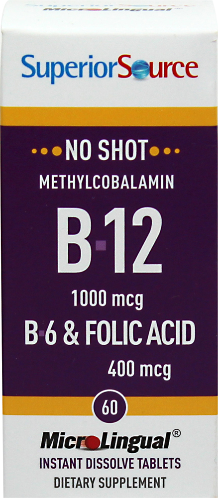 Vitamin B-12 Methylcobalamin 1,000 mcg with Vitamin B-6 2 mg & Folic Acid 400 mcg Microlingual