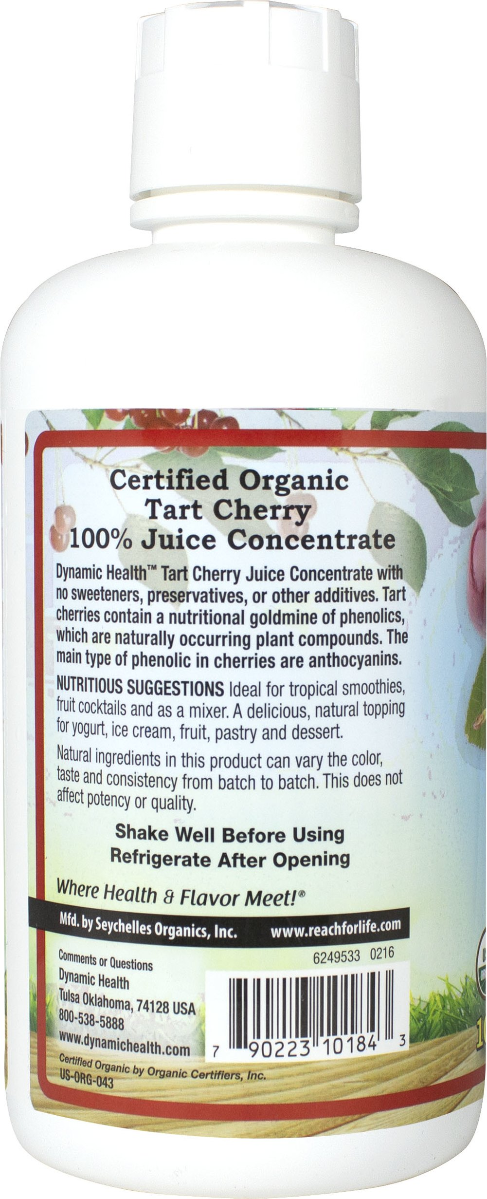 Organic Tart Cherry Juice Concentrate Thumbnail Alternate Bottle View