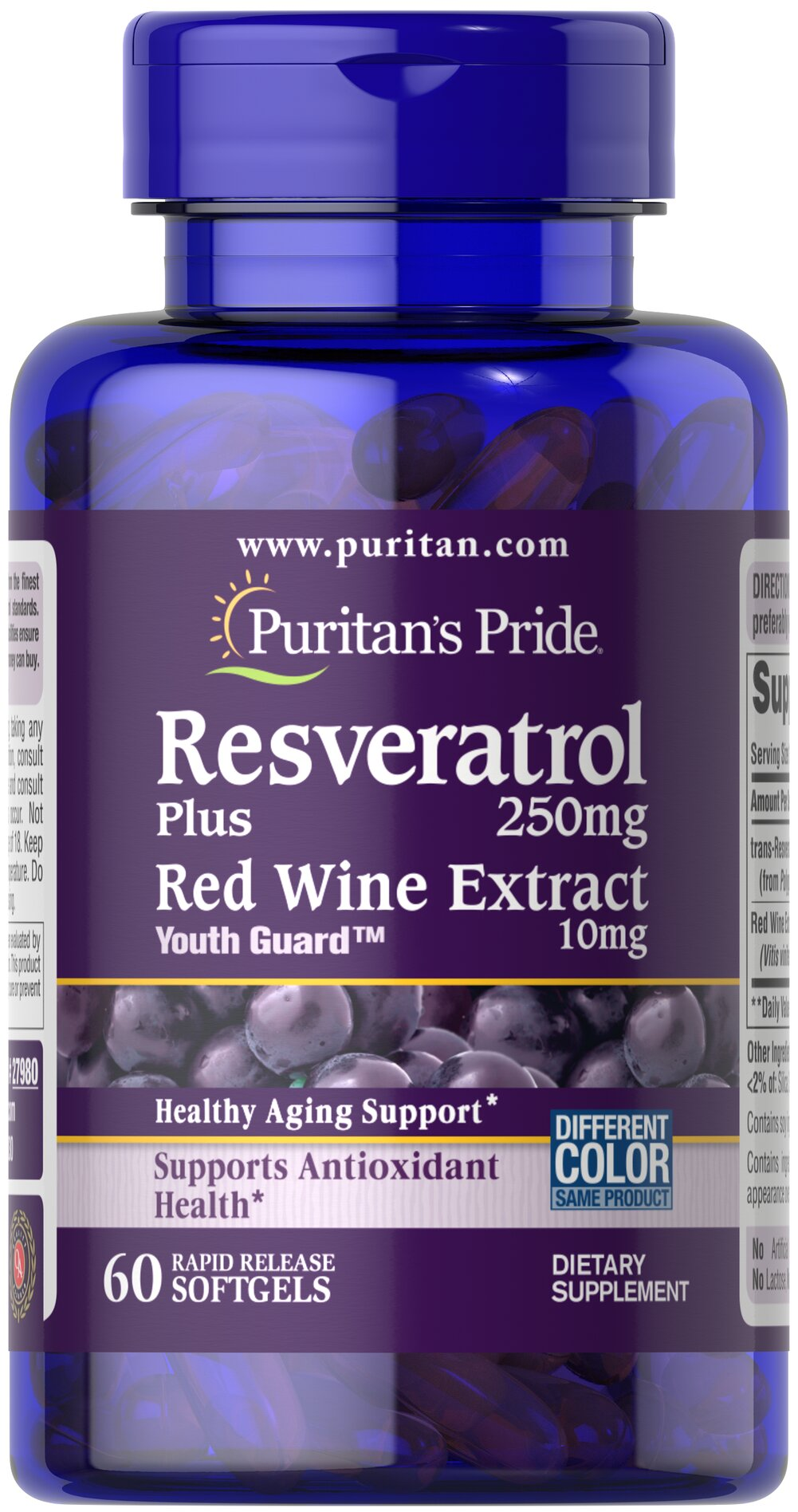 Resveratrol 250 Mg Plus Red Wine Extract 60 Rapid Release Softgels