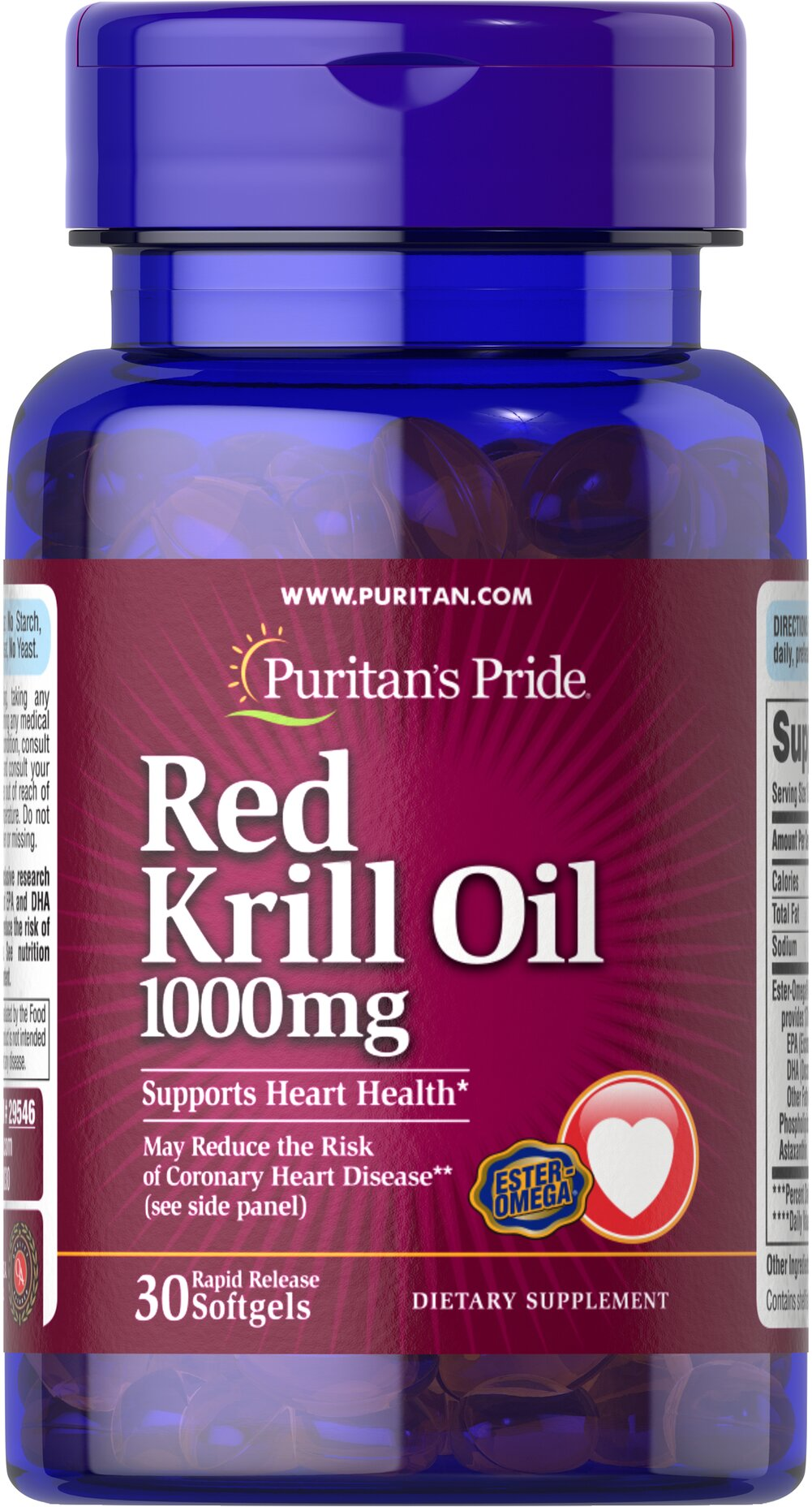Red Krill Oil 1000 mg (170 mg Active Omega-3) Thumbnail Alternate Bottle View