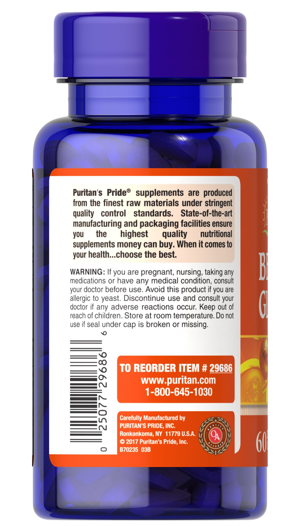 Beta Glucans 200 mg Thumbnail Alternate Bottle View