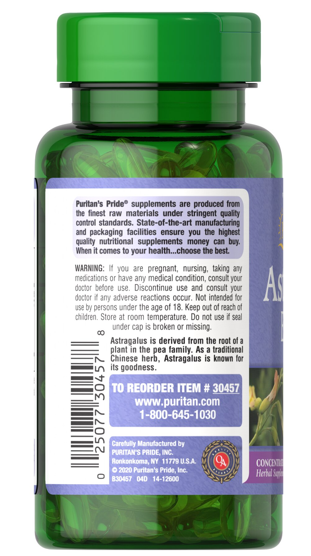 Astragalus Extract 1000 mg* Thumbnail Alternate Bottle View