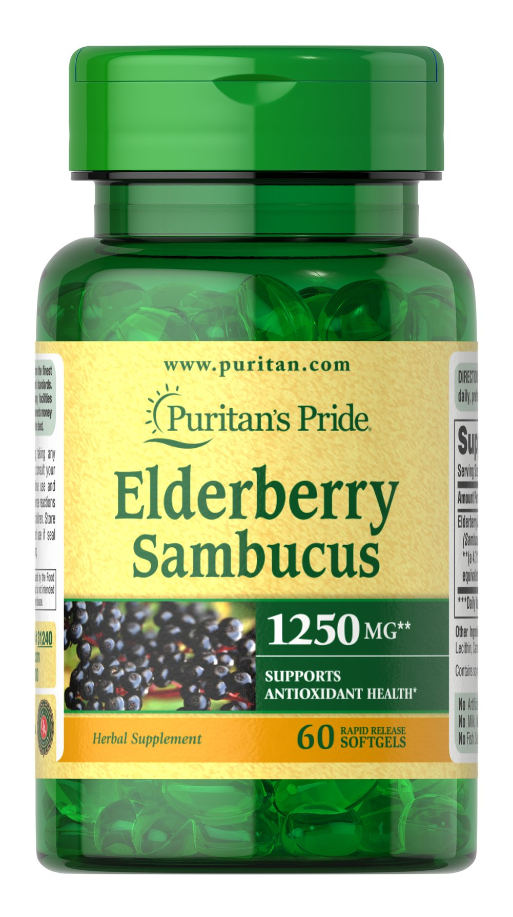 Elderberry Sambucus 1250 mg Thumbnail Alternate Bottle View